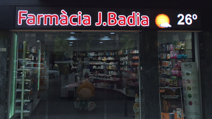 pantalla en farmacia