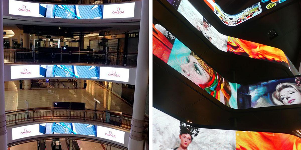 pantallas led en interior de centros comerciales